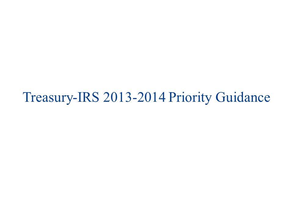 Treasury-IRS 2013-2014 Priority Guidance