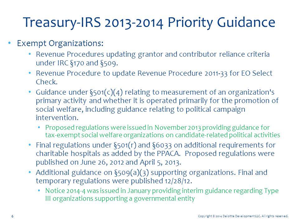 Copyright © 2014 Deloitte Development LLC. All rights reserved. Treasury-IRS 2013-2014 Priority Guidance Exempt Organizations: Revenue Procedures upda