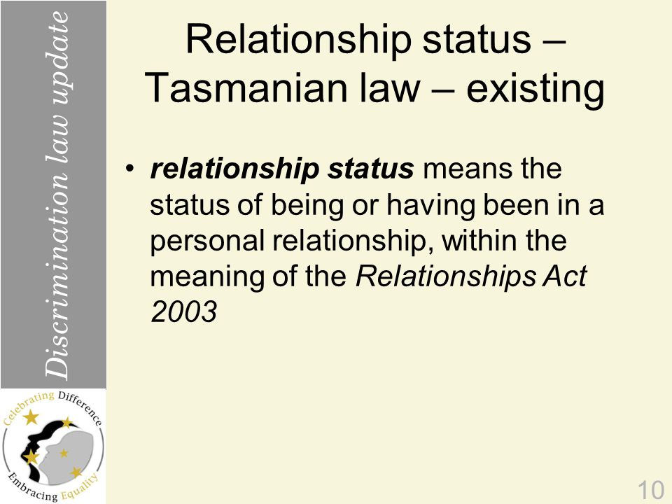 Relationship status – Tasmanian law – existing relationship status means the status of being or having been in a personal relationship, within the meaning of the Relationships Act 2003 10 Discrimination law update