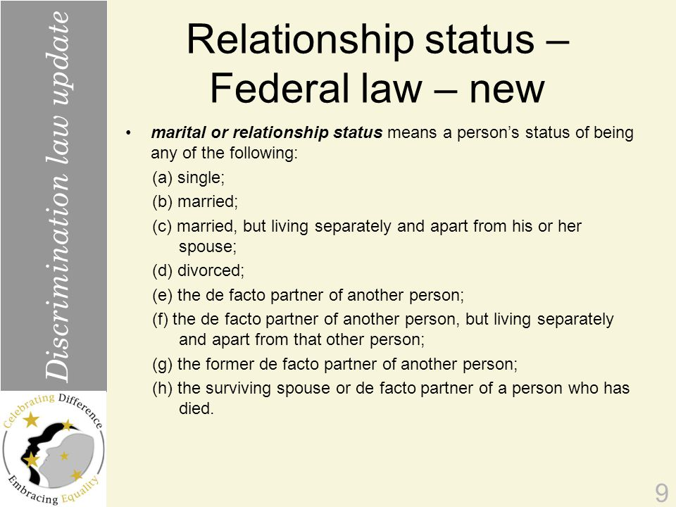 Relationship status – Federal law – new marital or relationship status means a person's status of being any of the following: (a) single; (b) married; (c) married, but living separately and apart from his or her spouse; (d) divorced; (e) the de facto partner of another person; (f) the de facto partner of another person, but living separately and apart from that other person; (g) the former de facto partner of another person; (h) the surviving spouse or de facto partner of a person who has died.