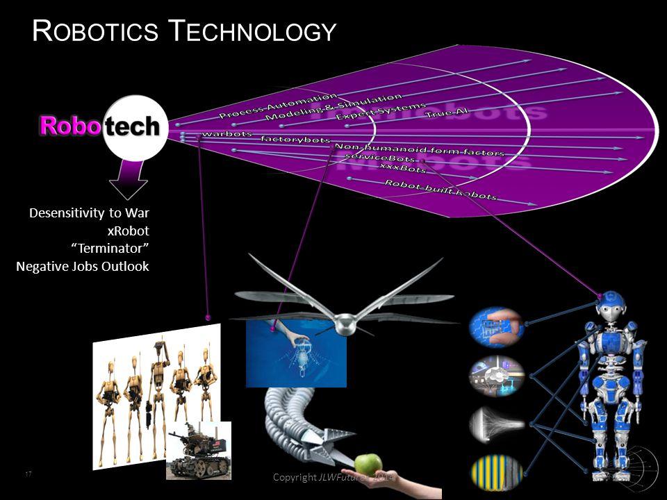 17 R OBOTICS T ECHNOLOGY Desensitivity to War xRobot Terminator Negative Jobs Outlook Copyright JLWFutures 2014