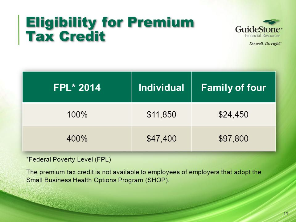 Eligibility for Premium Tax Credit 11 *Federal Poverty Level (FPL) The premium tax credit is not available to employees of employers that adopt the Sm