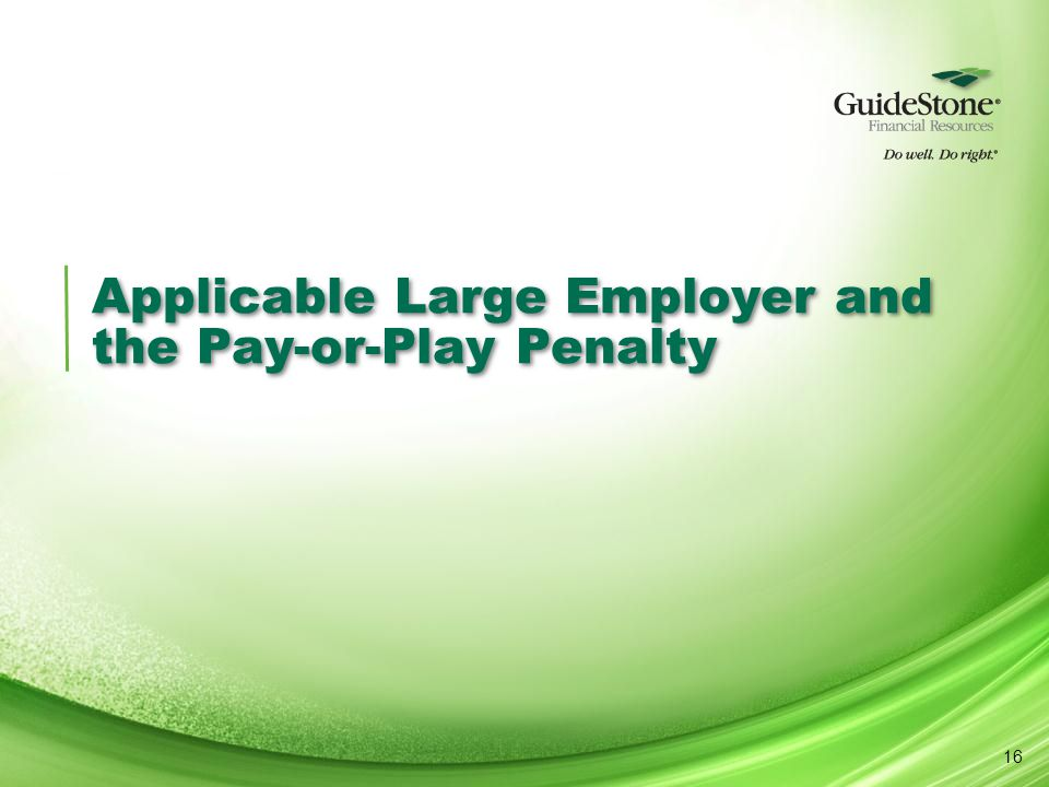 Applicable Large Employer and the Pay-or-Play Penalty 16