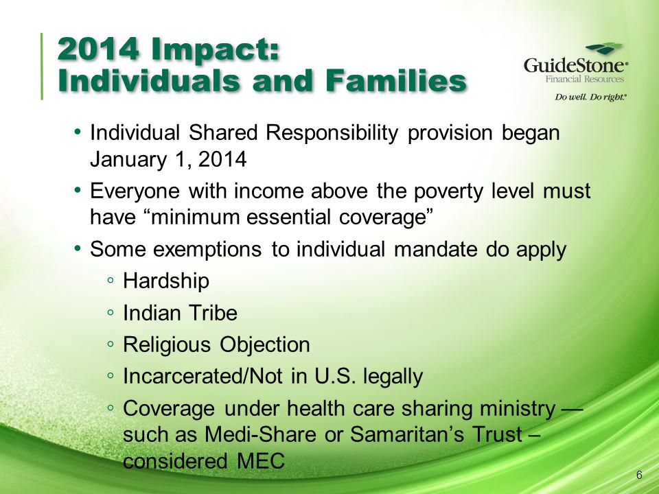 2014 Impact: Individuals and Families Individual Shared Responsibility provision began January 1, 2014 Everyone with income above the poverty level mu