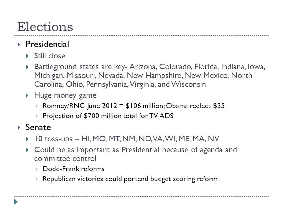 Elections  Presidential  Still close  Battleground states are key- Arizona, Colorado, Florida, Indiana, Iowa, Michigan, Missouri, Nevada, New Hamps