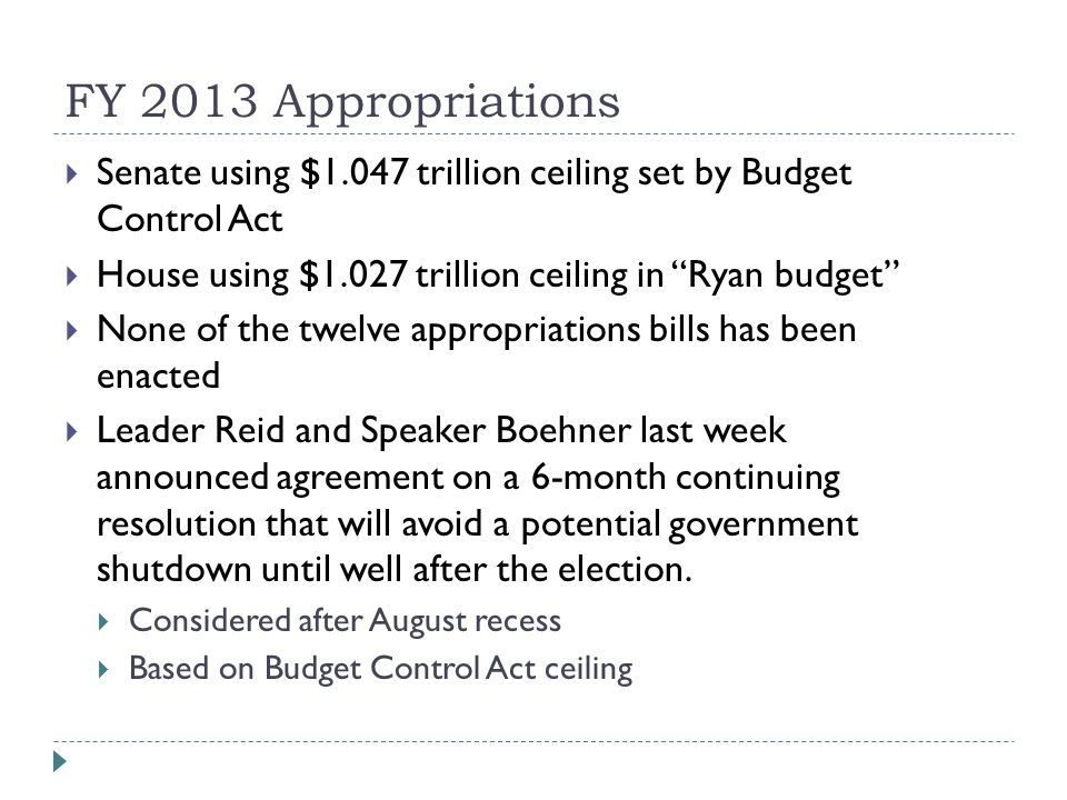 """FY 2013 Appropriations  Senate using $1.047 trillion ceiling set by Budget Control Act  House using $1.027 trillion ceiling in """"Ryan budget""""  None"""