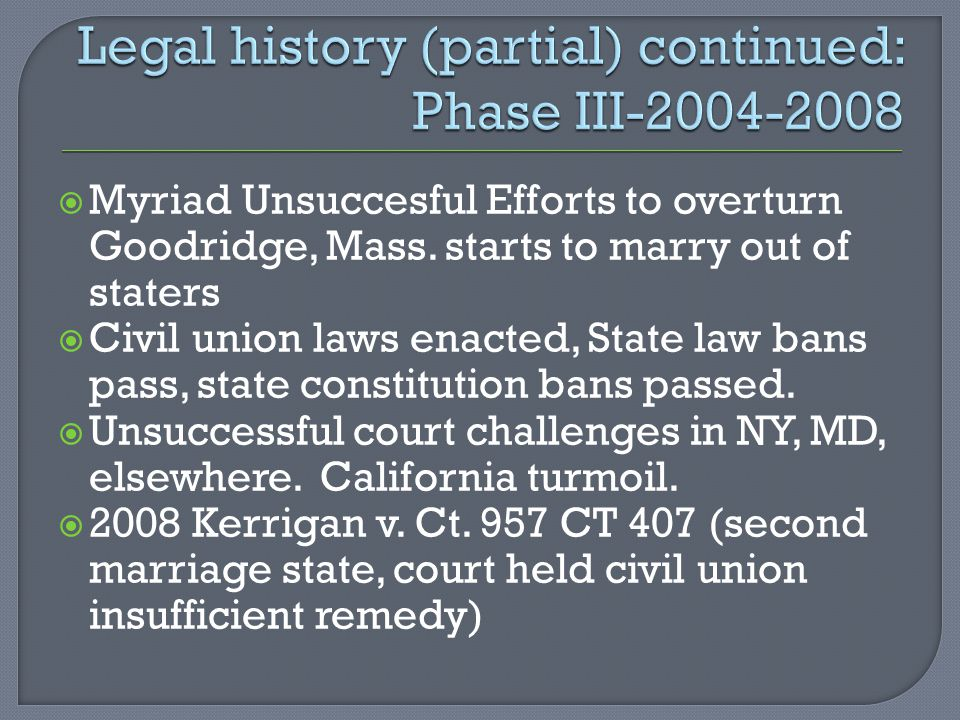  Myriad Unsuccesful Efforts to overturn Goodridge, Mass.