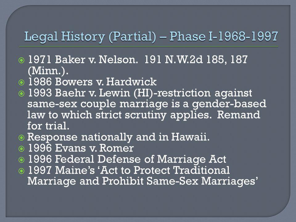  1971 Baker v. Nelson. 191 N.W.2d 185, 187 (Minn.).