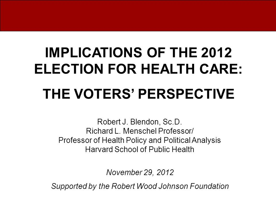 Obama Voters' Perspective on the Future of Health Care Nation remains polarized over health policy.