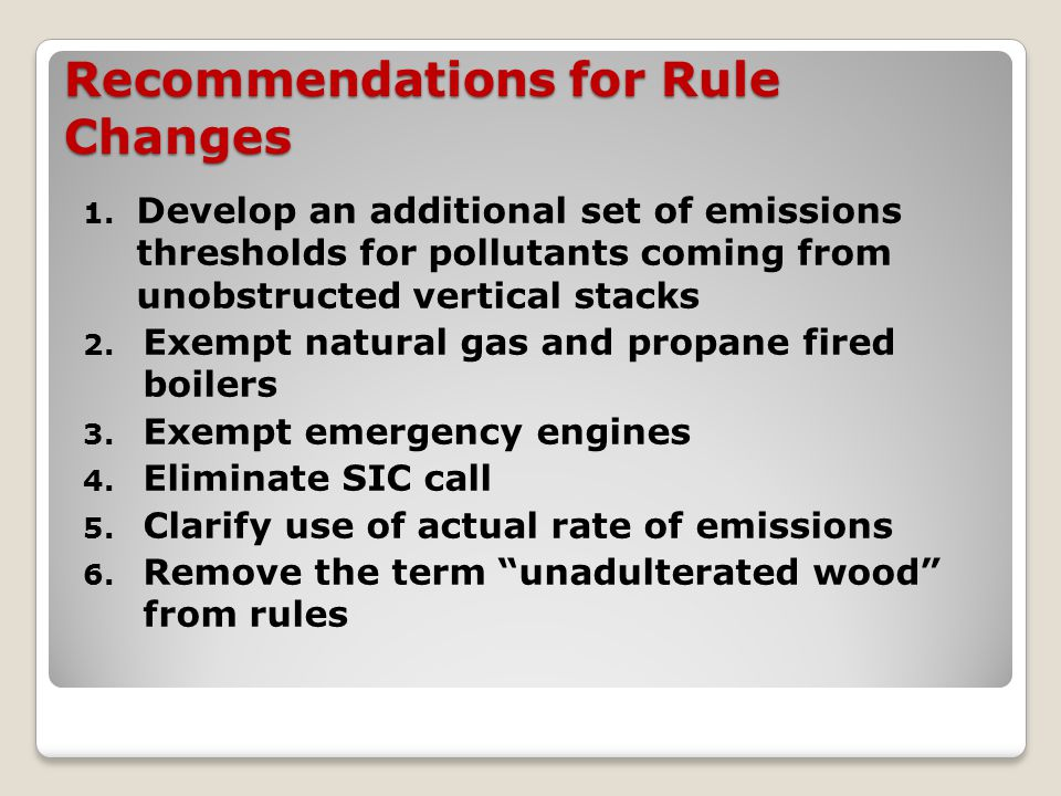 Recommendations for Rule Changes 1.