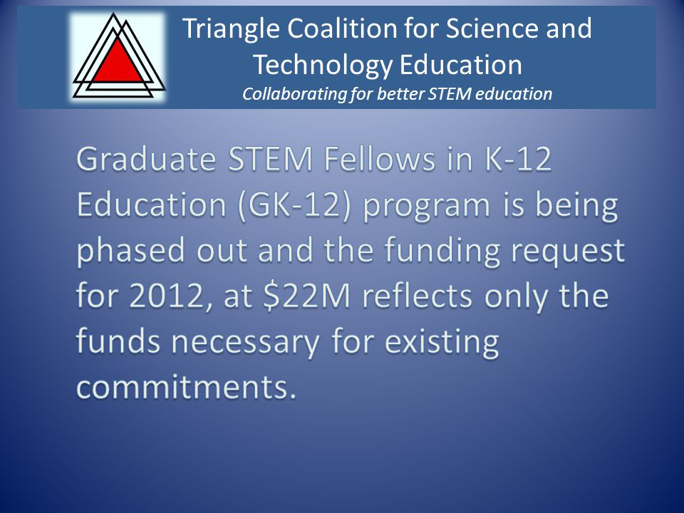 Triangle Coalition for Science and Technology Education Collaborating for better STEM education