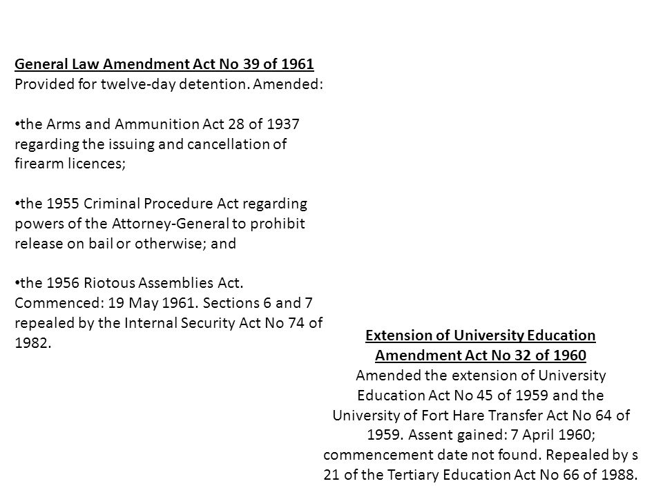 General Law Amendment Act No 39 of 1961 Provided for twelve-day detention.