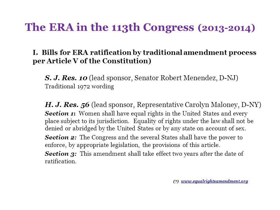 The ERA in the 113th Congress (2013-2014) II.