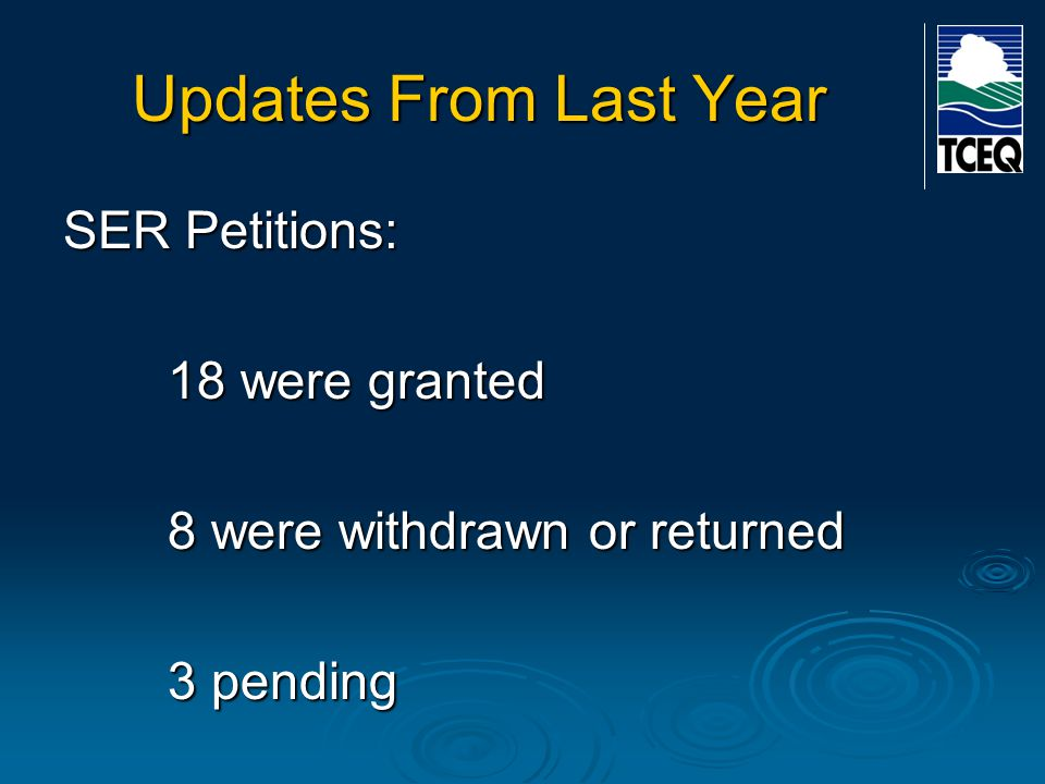 Updates From Last Year SER Petitions: 23 petitions filed in first four months after effective date of statute 6 filed since 1/1/12