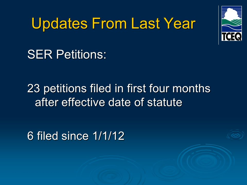 Updates From Last Year SER Petitions: Main issue – whether petitioner is receiving water or sewer service from the CCN holder.
