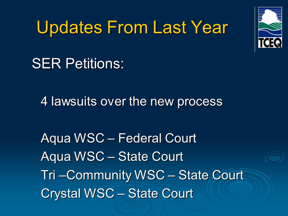Current Cases Canyon Lake Water Supply case Rate increase filed by Canyon Lake Water Supply Company in 2010 Former Water Supply Corporation purchased by an IOU