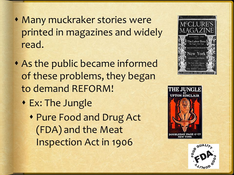  Many muckraker stories were printed in magazines and widely read.