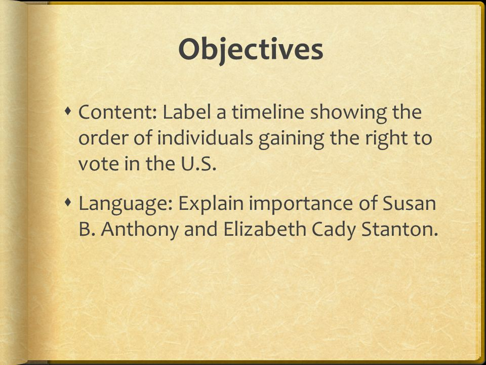 Objectives  Content: Label a timeline showing the order of individuals gaining the right to vote in the U.S.