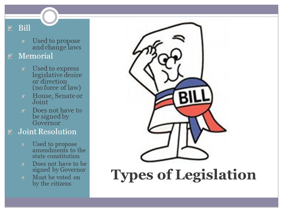 Types of Legislation Bill Used to propose and change laws Memorial Used to express legislative desire or direction (no force of law) House, Senate or Joint Does not have to be signed by Governor Joint Resolution Used to propose amendments to the state constitution Does not have to be signed by Governor Must be voted on by the citizens