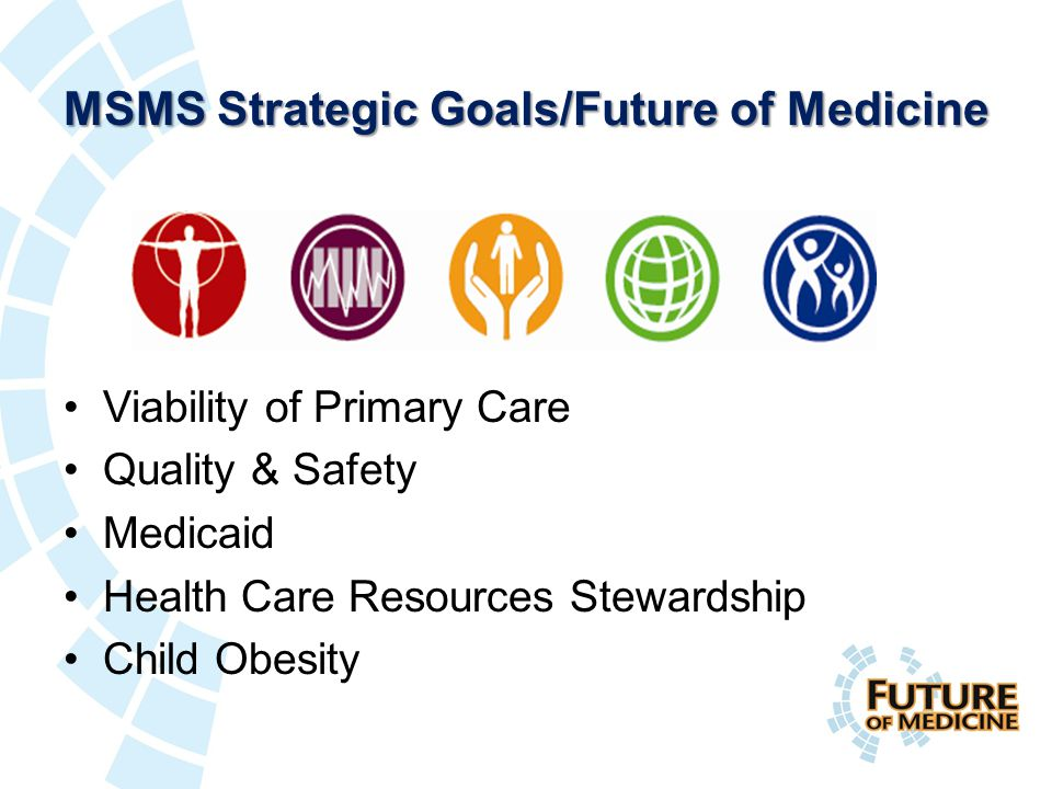 MSMS Strategic Goals/Future of Medicine Viability of Primary Care Quality & Safety Medicaid Health Care Resources Stewardship Child Obesity