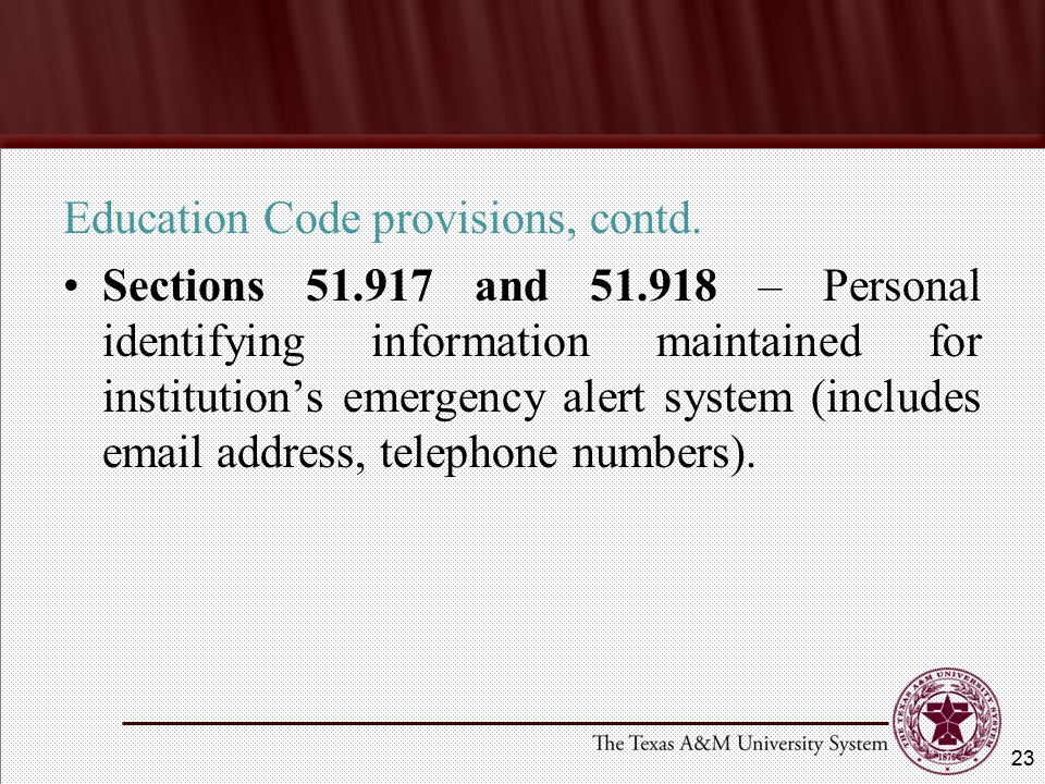 Education Code provisions, contd.