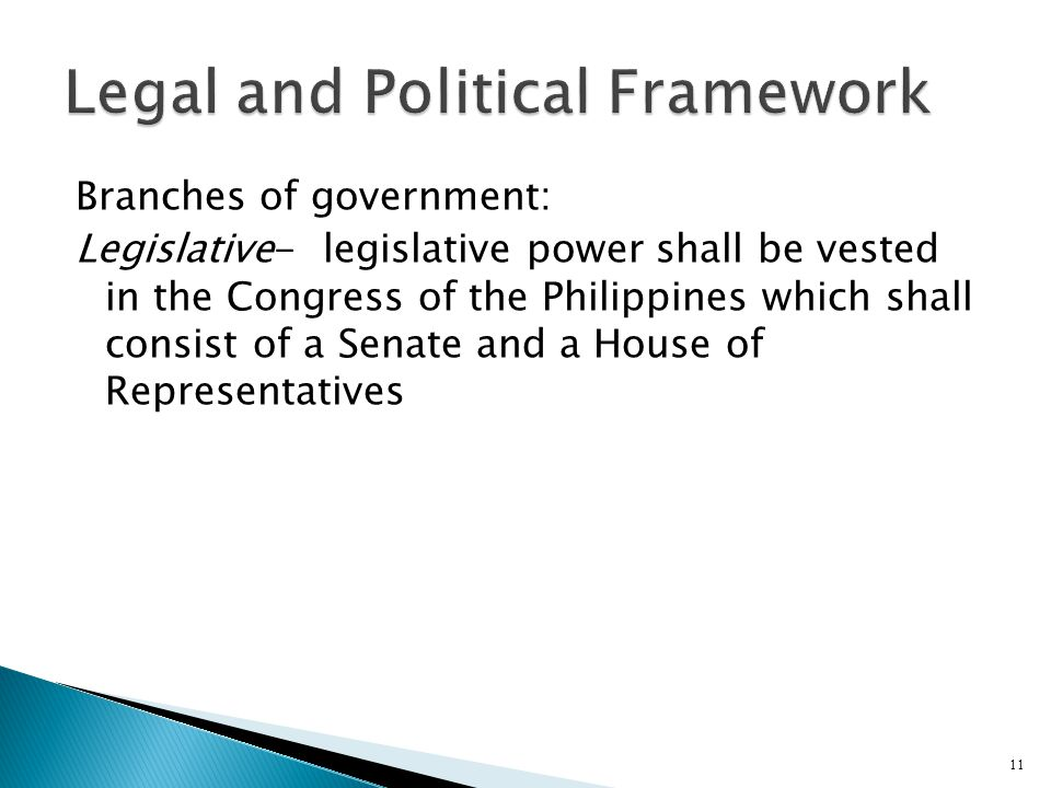 Branches of government: Legislative- legislative power shall be vested in the Congress of the Philippines which shall consist of a Senate and a House