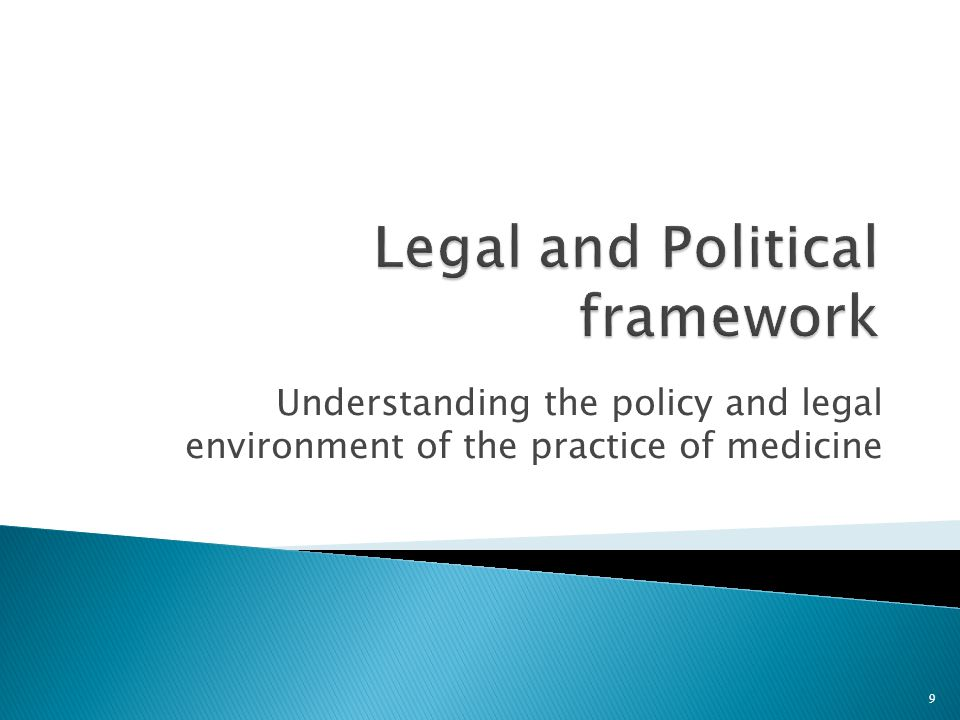 Understanding the policy and legal environment of the practice of medicine 9