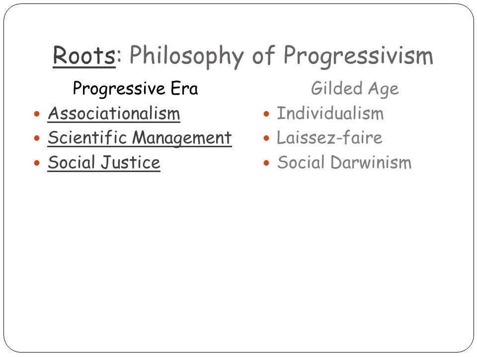 RootsRoots: Philosophy of Progressivism Progressive Era Associationalism Scientific Management Social Justice Gilded Age Individualism Laissez-faire Social Darwinism