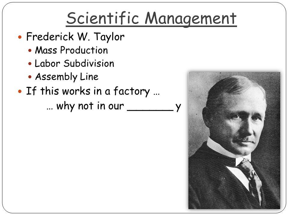 Scientific Management Frederick W.