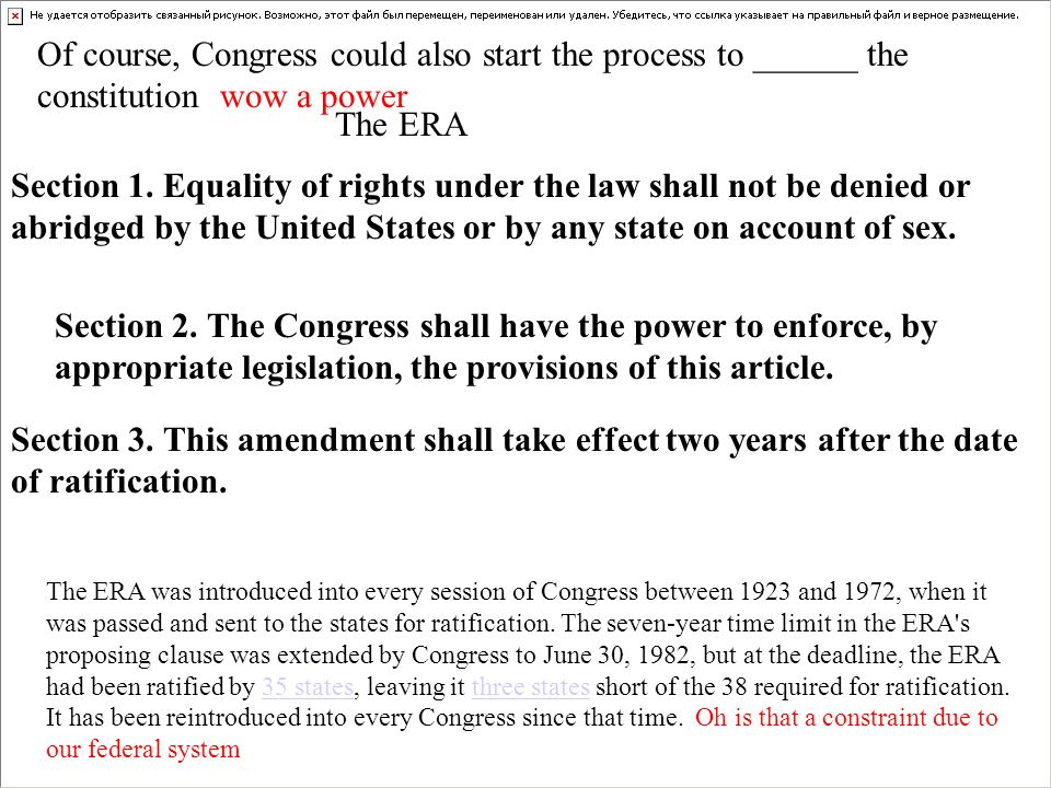 Section 1. Equality of rights under the law shall not be denied or abridged by the United States or by any state on account of sex. Section 2. The Con