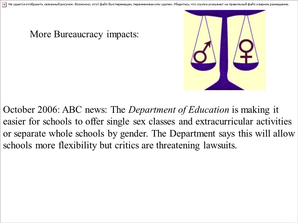 October 2006: ABC news: The Department of Education is making it easier for schools to offer single sex classes and extracurricular activities or sepa