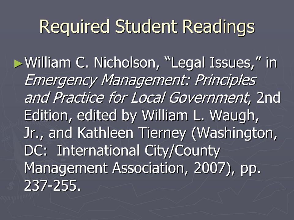 Required Student Readings ► William C.