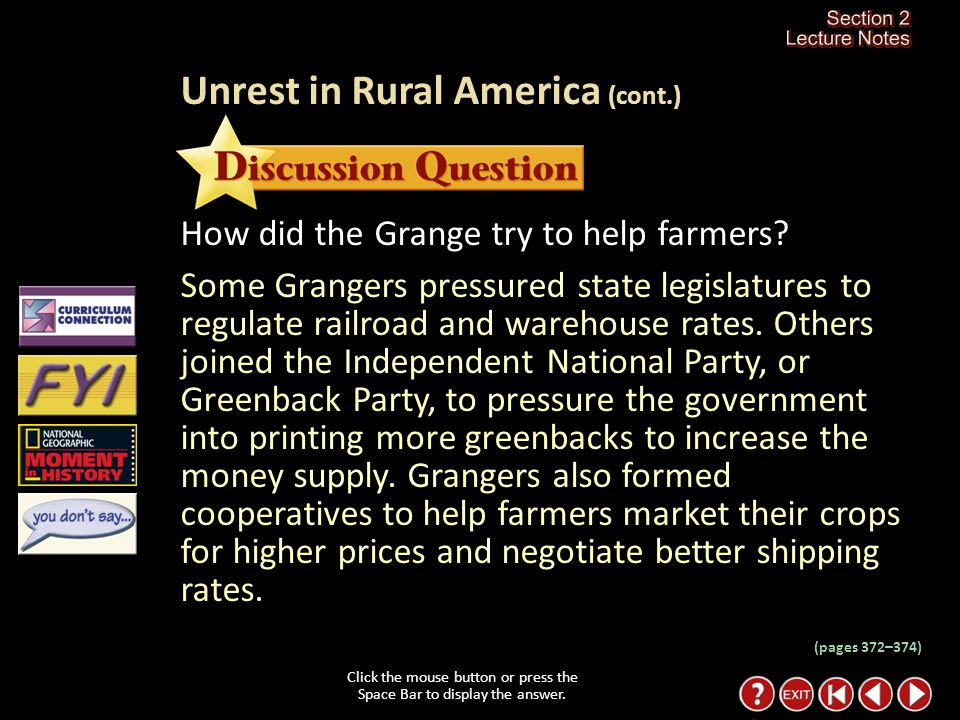 Section 2-10 However, the Grange was unable to improve the economic conditions of farmers.