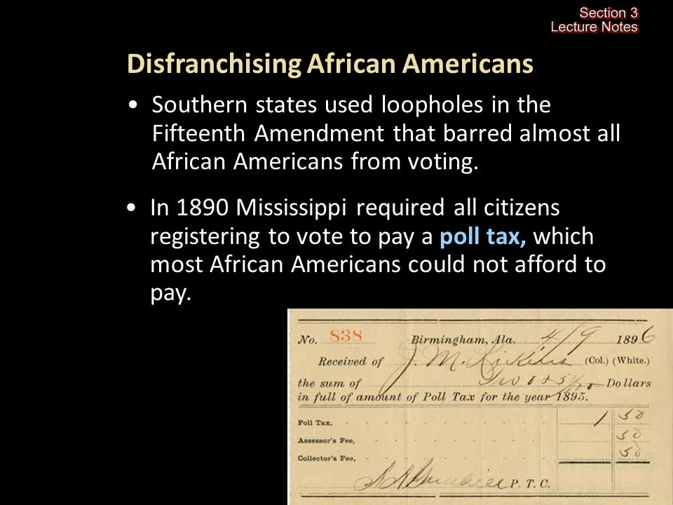 Section 3-8 What did African Americans do to try to improve their conditions in the South after Reconstruction.
