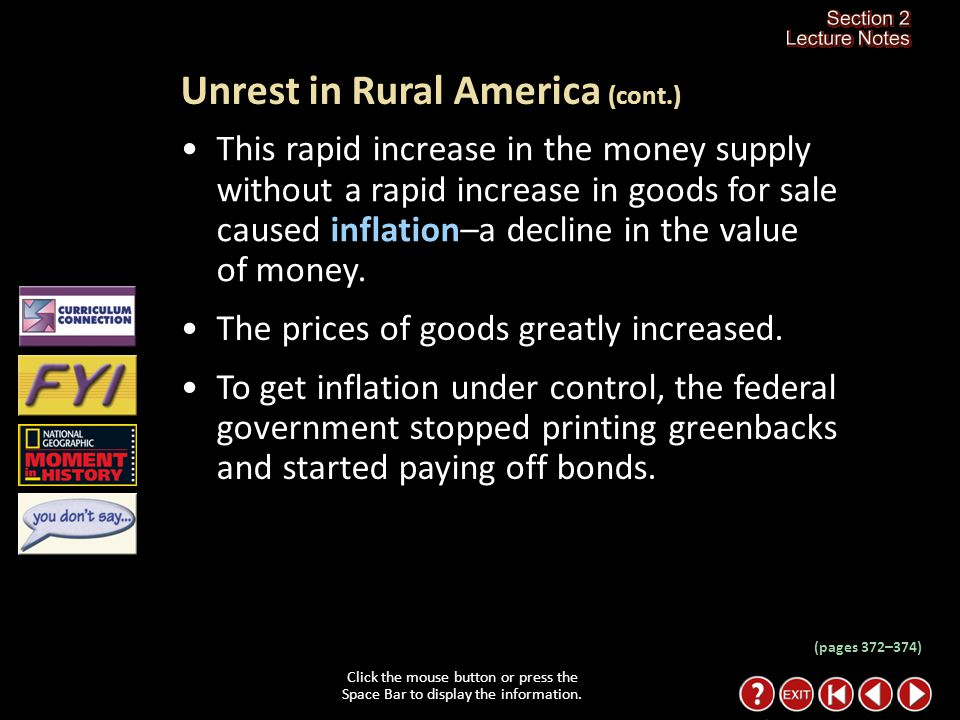 Section 2-5 Click the mouse button or press the Space Bar to display the information. Unrest in Rural America Click the mouse button or press the Spac