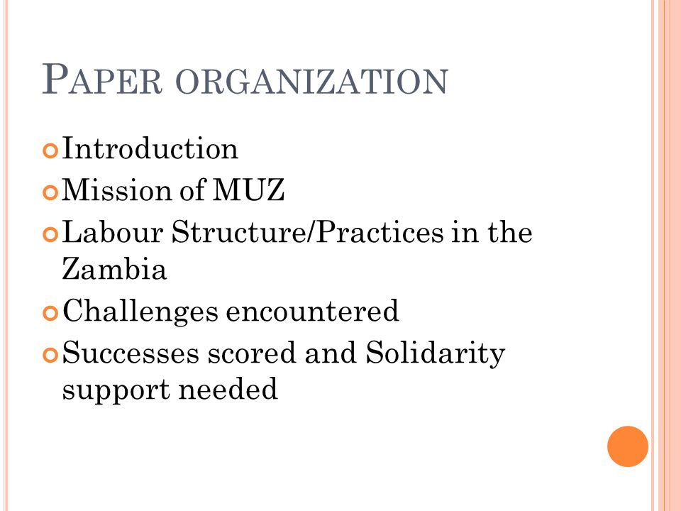 P APER ORGANIZATION Introduction Mission of MUZ Labour Structure/Practices in the Zambia Challenges encountered Successes scored and Solidarity support needed