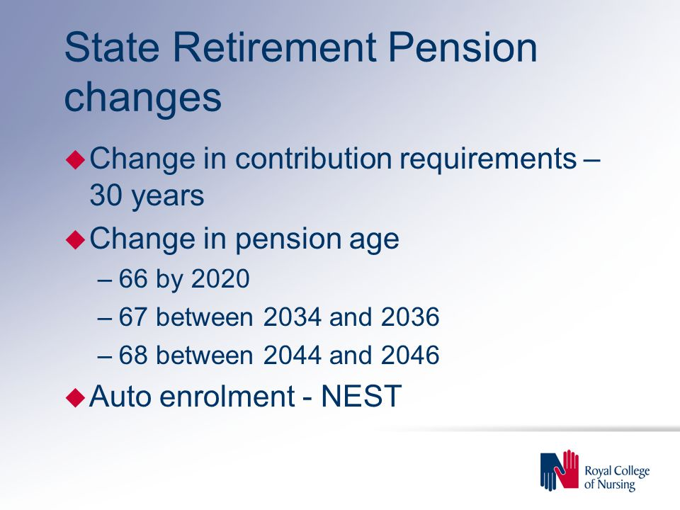 State Retirement Pension changes u Change in contribution requirements – 30 years u Change in pension age –66 by 2020 –67 between 2034 and 2036 –68 between 2044 and 2046 u Auto enrolment - NEST