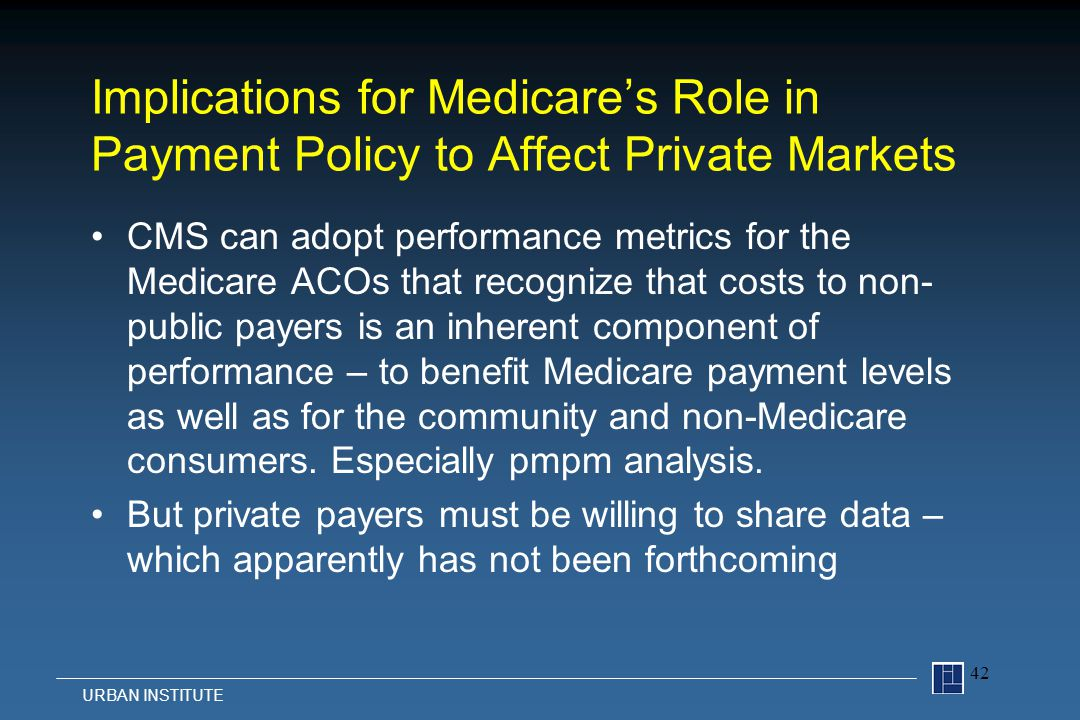 Implications for Medicare's Role in Payment Policy to Affect Private Markets CMS can adopt performance metrics for the Medicare ACOs that recognize that costs to non- public payers is an inherent component of performance – to benefit Medicare payment levels as well as for the community and non-Medicare consumers.