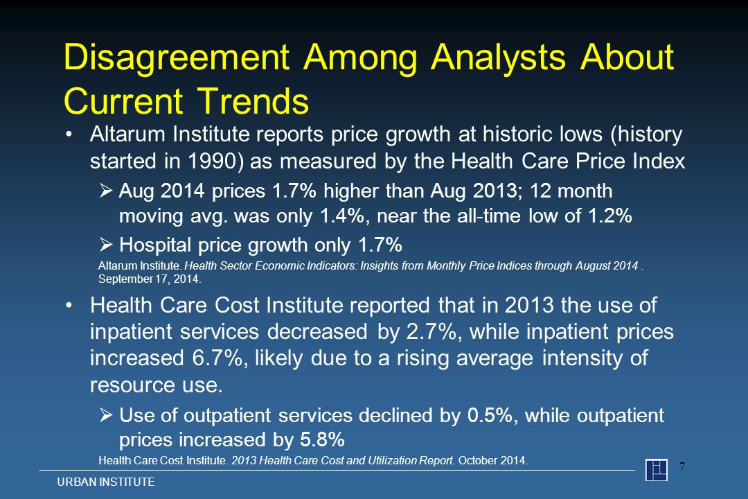 Disagreement Among Analysts About Current Trends Altarum Institute reports price growth at historic lows (history started in 1990) as measured by the Health Care Price Index  Aug 2014 prices 1.7% higher than Aug 2013; 12 month moving avg.