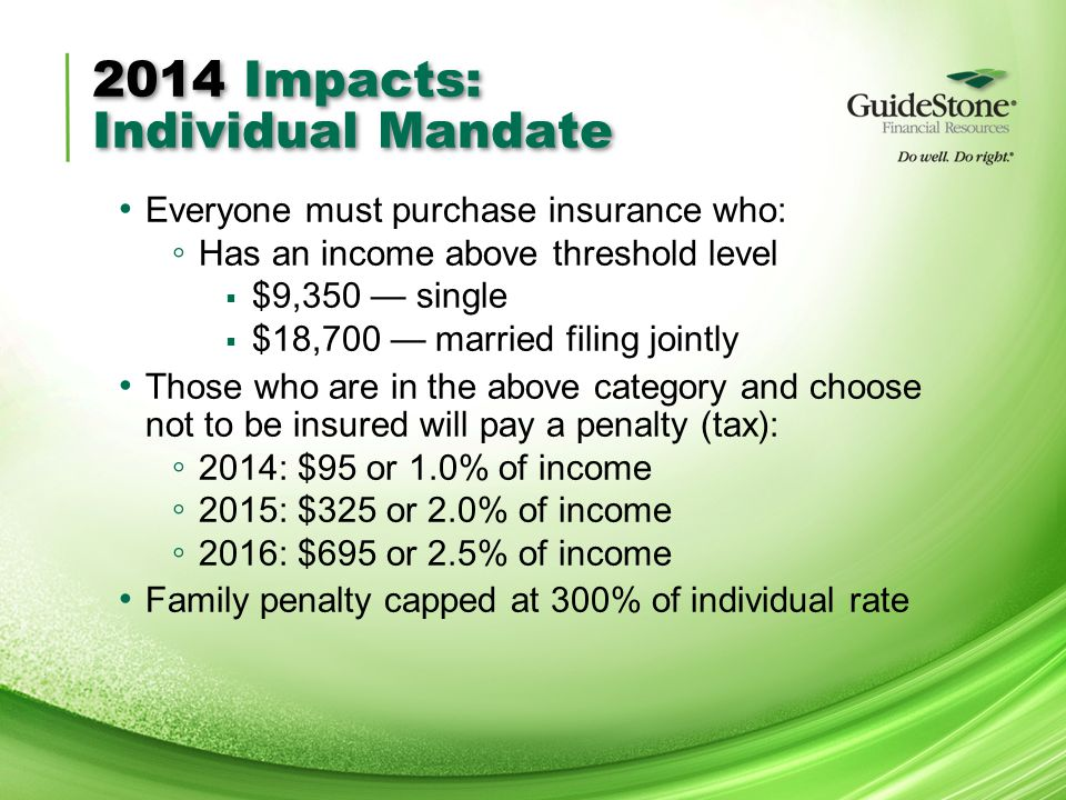 2014 Impacts: Individual Mandate Everyone must purchase insurance who: ◦ Has an income above threshold level  $9,350 — single  $18,700 — married filing jointly Those who are in the above category and choose not to be insured will pay a penalty (tax): ◦ 2014: $95 or 1.0% of income ◦ 2015: $325 or 2.0% of income ◦ 2016: $695 or 2.5% of income Family penalty capped at 300% of individual rate