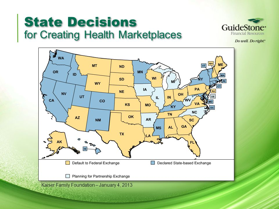 State Decisions for Creating Health Marketplaces Kaiser Family Foundation – January 4, 2013