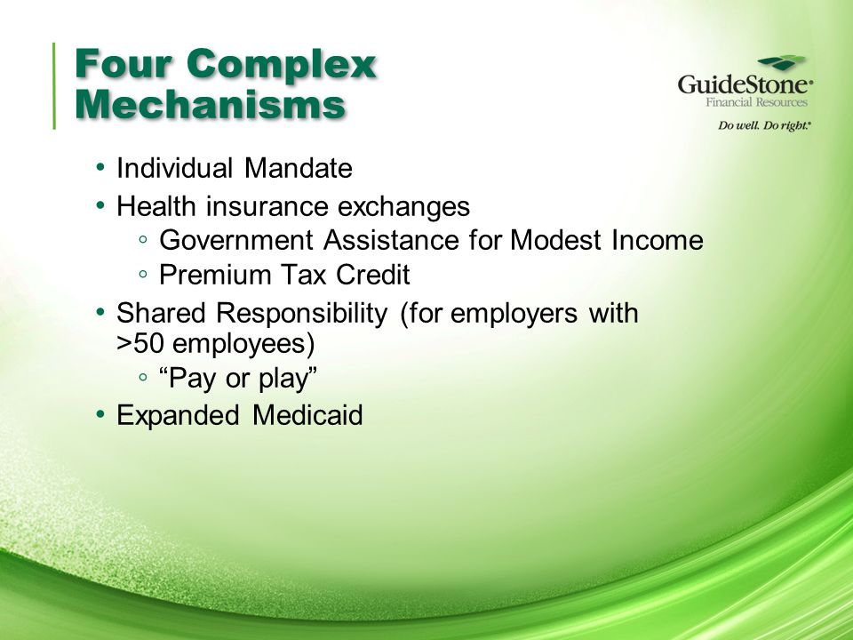 Four Complex Mechanisms Individual Mandate Health insurance exchanges ◦ Government Assistance for Modest Income ◦ Premium Tax Credit Shared Responsibility (for employers with >50 employees) ◦ Pay or play Expanded Medicaid