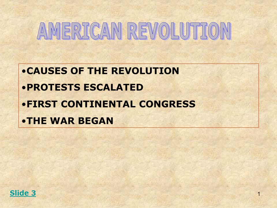 1 CAUSES OF THE REVOLUTION PROTESTS ESCALATED FIRST CONTINENTAL CONGRESS THE WAR BEGAN Slide 3