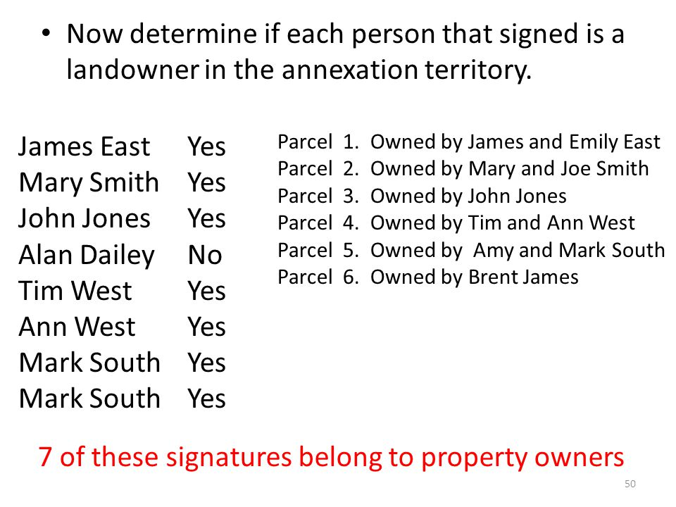 Now determine if each person that signed is a landowner in the annexation territory.