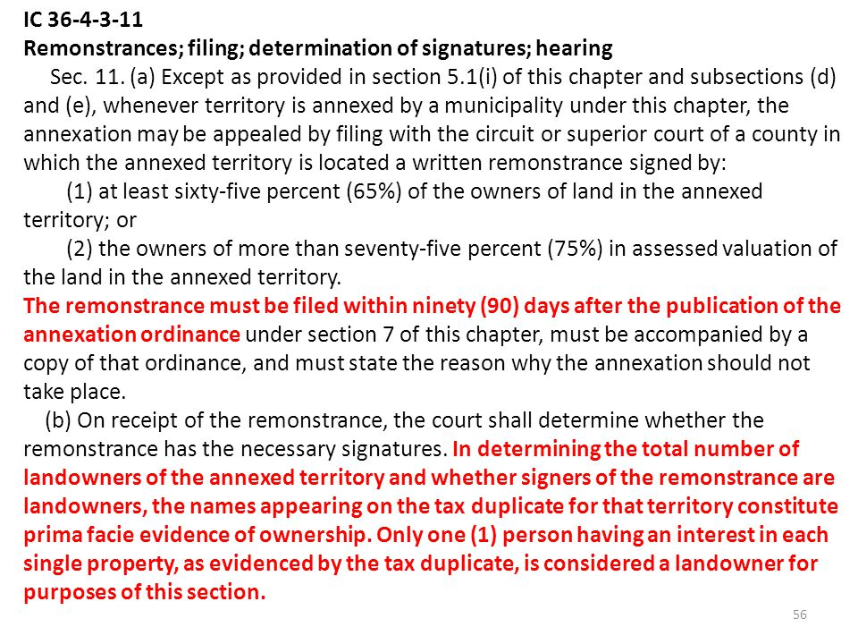 IC 36-4-3-11 Remonstrances; filing; determination of signatures; hearing Sec.