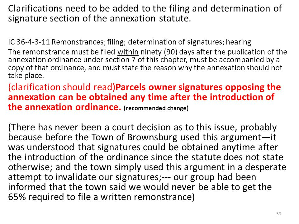 Clarifications need to be added to the filing and determination of signature section of the annexation statute.