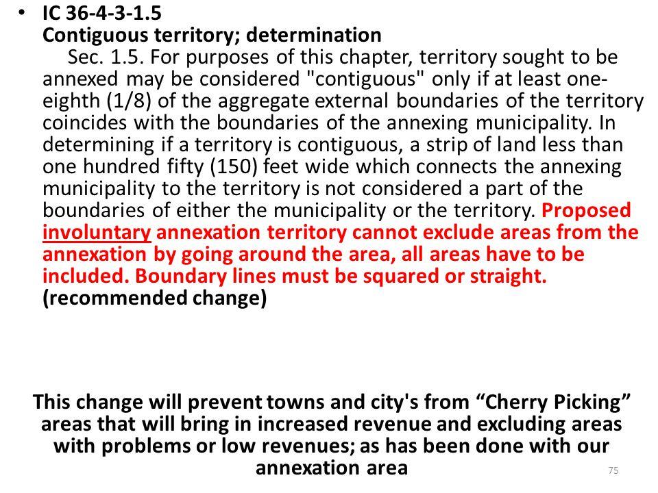 IC 36-4-3-1.5 Contiguous territory; determination Sec.