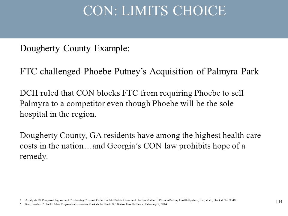 | 14 CON: LIMITS CHOICE Dougherty County Example: FTC challenged Phoebe Putney's Acquisition of Palmyra Park DCH ruled that CON blocks FTC from requiring Phoebe to sell Palmyra to a competitor even though Phoebe will be the sole hospital in the region.