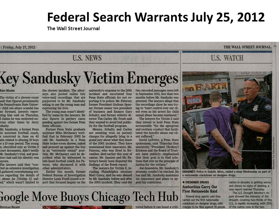 Federal Search Warrants July 25, 2012 The Wall Street Journal