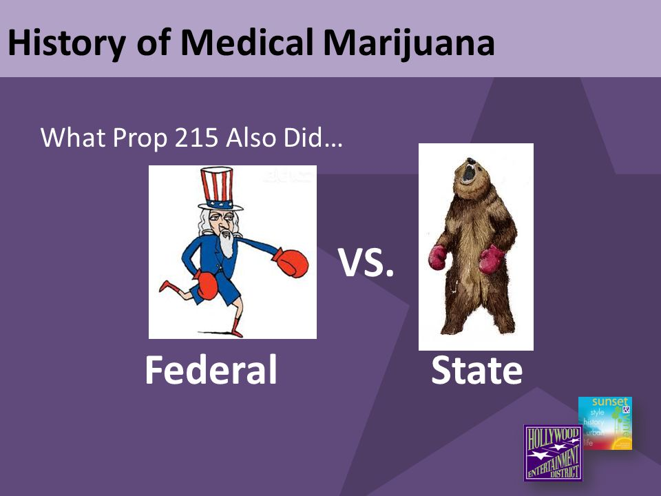 What Prop 215 Also Did… History of Medical Marijuana VS. FederalState